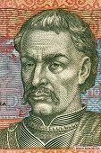 UKRAINE - CIRCA 2006: Ivan Mazepa (1639-1709) on 10 Hryven 2006 Banknote from Ukraine. Cossack Hetma