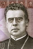 LITHUANIA - CIRCA 2007: Maironis (1862-1932) on 20 Litu 2007 Banknote from Lithuania. Lithuanian romantic poet.