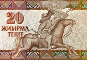 KAZAKHSTAN - CIRCA 1993: Equestrian Hunter on 20 Tenge 1993 Banknote from Kazakhstan.