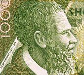 ALBANIA - CIRCA 2001: Pjeter Bogdani (1622-1689) 1000 Leke 2001 Banknote from Albania. Most original writer of early literature in Albania.