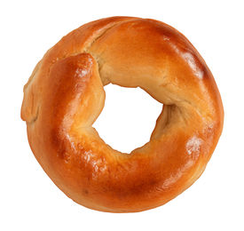 picture of doughy  - Bagel isolated on a white background made of tasty delicious chewy dough as a classic circle shaped food symbol of traditional breakfst baked goods and old fashioned bread product - JPG