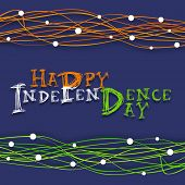 Happy Independence Day celebrations concept with stylish text in Indian tricolors on blue background