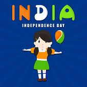 Cute little girl in Indian tricolors dress holding balloon on blue rays background for Indian Indepe