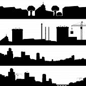 Set Of Silhouettes Cityscapes.