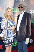 LOS ANGELES - JUL 17:  Lori McCreary, Morgan Freeman at the CBS TCA July 2014 Party at the Pacific D