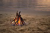 Bonfire On The Sandy Beach