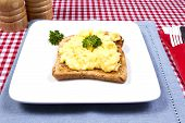 foto of scrabble  - A plate of scrabbled egg decorated with sprigs of parsley - JPG