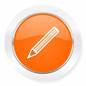 pencil orange computer icon