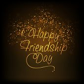Greeting card design with golden stylish text Happy Friendship Day on shiny fireworks on black backg