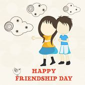 Happy Friendship Day celebrations concept with cute little girl and boy on clouds decorated beige ba