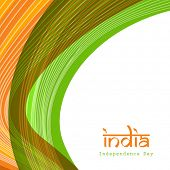 Indian Independence Day celebrations concept with national flag color waves and text India on white
