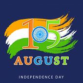 15th of August, Indian Independence Day celebrations concept with national flag colors on blue backg
