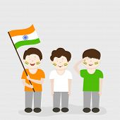 15th of August, Indian Independence Day celebrations concept with cute little boys holding national