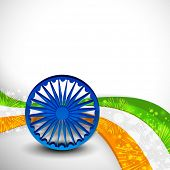 Shiny 3D Ashoka Wheel in blue color on national flag colors wave for Indian Independence Day celebra