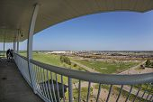 NORTH PLATTE, NEBRASKA, JULY 14, 2014: Fisheye view of Union Pacific's Bailey rail yard from Golden
