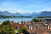 LUCERN, SWITZERLAND - JULY 3, 2014: Overview of Lucern City, the lake and Alps. From this vantage yo