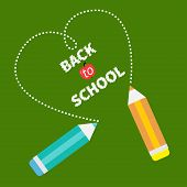 Back To School Card Card. Two Pencils And Dash Heart On Green Board. Flat Design.