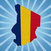 picture of chad  - Chad map flag on blue sunburst illustration - JPG