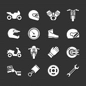 Set Icons Of Motorcycle