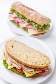 Two Healthy Sandwiches on White Background