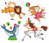 set of cheerful circus animals  (vector illustration for children's books)