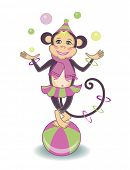 cute circus monkey (vector illustration for children's books)