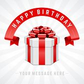 Open gift box and with red bow and ribbon vector background. Happy birthday message.