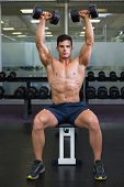 Portrait of a shirtless young muscular man exercising with dumbbells in gym