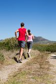 Active couple jogging on country terrain on a sunny day