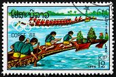 Postage Stamp Laos 1988 Canoeing
