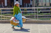LA PAZ, BOLIVIA, MAY 8, 2014 - Local woman in traditional costume and hat carries heavy baskets with