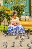 LA PAZ, BOLIVIA, MAY 8, 2014 - Local woman in traditional costume and bowler hat sits on bench on Plaza Murillo, watching pigeons
