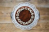 Tiramisu Cake On Raw Wood Rustic