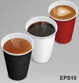 Tea, Cappuccino, Coffee In Paper Cups. Vector Illustration