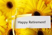 Happy Retirement Card With Yellow Gerberas