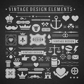 Vintage vector design elements. Retro chalk style golden typographic labels, tags, badges, stamps, a