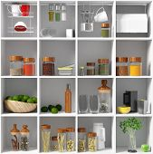 kitchen equipment on the white shelf. 3d concept