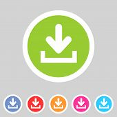 Download upload flat icon, button set, load symbol