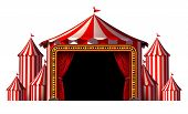 foto of tent  - Circus stage tent design element as a group of big top carnival tents with a red curtain opening entrance as a fun entertainment icon for a theatrical celebration or party festival isolated on a white background - JPG