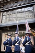 NEW YORK - MAY 23: Three members of the US Coast Guard Silent Drill Team march past the Herald Squar