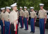 NEW YORK - MAY 23, 2014: U.S. Marines stand at attention during the re-enlistment and promotion cere
