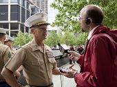 NEW YORK - MAY 23, 2014: U.S. Marine Lt. General William Faulkner interviewed by Peter Haskell of WC