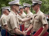 NEW YORK - MAY 23, 2014: Marine Lt. General William Faulkner shakes the hand of a U.S. Marine partic