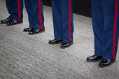 NEW YORK - MAY 23, 2014: Blue trousers with the scarlet blood stripe of four U.S. Marines Corpsmen p
