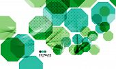 Bright green and blue textured geometric shapes isolated on white - modern design template