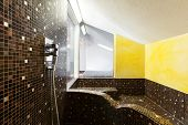 House, inside bathroom, yellow walls
