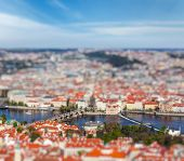 Aerial view of Charles Bridge over Vltava river and Old city from Petrin hill Observation Tower with