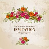 Vintage Floral Card - for design, background, invitation - in vector