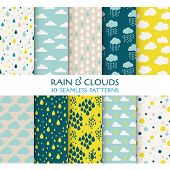 10 Seamless Patterns - Rain and Clouds - Texture for wallpaper, background, texture, scrapbook - in