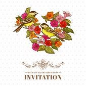 Retro Background - Flowers and  Birds - for design and scrapbook in vector